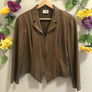 Joseph Ribkoff Brown Croc Print Jacket / Blazer